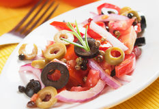 Vegetable salad with tomato, onion and olives Stock Photography