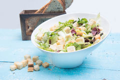 Vegetable salad with tomatoes and lettuce on vintage wood Royalty Free Stock Photography