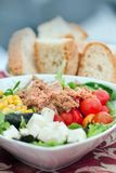 Vegetable salad with tuna and bread Stock Photos