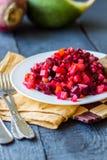 Vegetable salad, vinaigrette and bread plate glinanoy Royalty Free Stock Image
