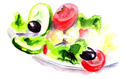 Vegetable salad watercolor Royalty Free Stock Photos