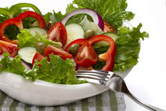 Vegetable salad in a white bowl. Stock Photos
