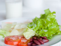 Vegetable Salad in White plate Stock Photography