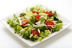 Vegetable salad. On white plate Stock Photography