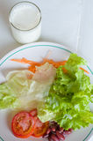 Vegetable Salad in White plate with Milk Royalty Free Stock Image