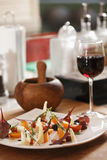 Vegetable salad and wine Stock Photo