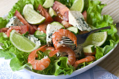 Vegetable Salad With Shrimps Stock Photography
