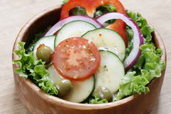 Vegetable salad in a wooden bowl. Royalty Free Stock Photos