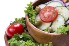 Vegetable salad in a wooden bowl. Stock Images