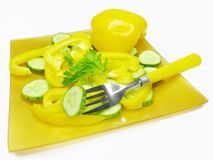 Vegetable salad with yellow pepper and cucumber Stock Photo