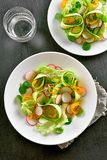 Vegetable salad from zucchini, radish, greens. Natural organic food. Vegetable salad from zucchini, radish, greens. Top view, flat lay Stock Photography