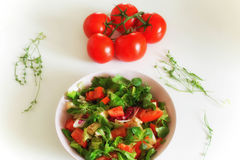Vegetable salat with toppings such as mozzarella cheese, tomato, Stock Photos