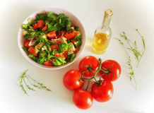 Vegetable salat with toppings such as mozzarella cheese, tomato, Royalty Free Stock Images