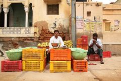 Vegetable salesman in India Stock Photo