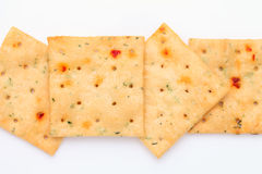 Vegetable salty crackers Stock Images