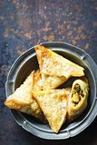 Vegetable samosas with chickpea, spinach and potatoes Royalty Free Stock Photography
