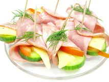 Vegetable sandwich with cheese and ham rolls Royalty Free Stock Photos