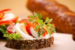 Vegetable sandwich. Fresh vegetable sandwich with eggs Royalty Free Stock Photos