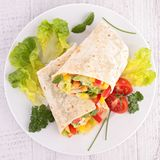 Vegetable sandwich wrap. Close up on vegetable sandwich wrap Stock Photography
