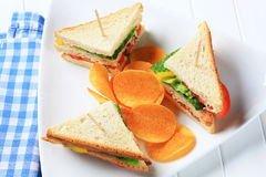 Vegetable Sandwiches and crisps Stock Images