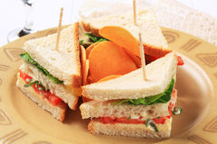 Vegetable Sandwiches and crisps Stock Photos