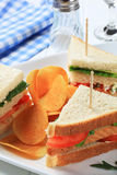 Vegetable Sandwiches and crisps Royalty Free Stock Photography