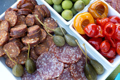 Vegetable and sausage party tray Royalty Free Stock Images