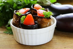 Vegetable saute fried eggplant rolls Stock Photo