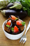Vegetable saute fried eggplant rolls Stock Photos