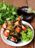 Vegetable saute fried eggplant rolls Royalty Free Stock Images