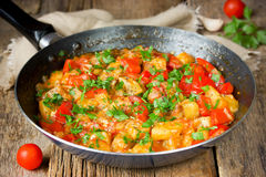 Vegetable saute in frying pan Stock Images