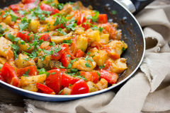 Vegetable saute in frying pan royalty free stock photos
