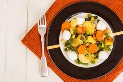 Vegetable saute with mozzarella Royalty Free Stock Photo