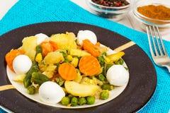 Vegetable saute with mozzarella Royalty Free Stock Image