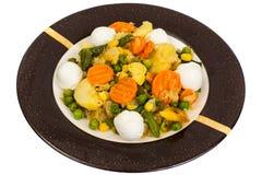Vegetable saute with mozzarella Royalty Free Stock Photography