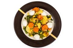 Vegetable saute with mozzarella Stock Photos