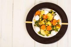 Vegetable saute with mozzarella Stock Images
