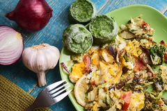Vegetable scrambled eggs royalty free stock photos