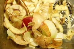 Vegetable scraps piled up in a corner of a sink royalty free stock photography