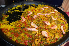 Vegetable and seafood paella Royalty Free Stock Images