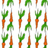 Vegetable seamless background vith carrot pattern. Orange and white colors stock illustration