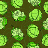 Vegetable seamless with Cabbage and cauliflower pattern. Green color stock illustration