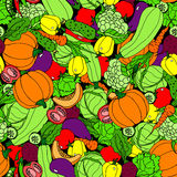 Vegetable seamless pattern. Cartoon, hand-drawing royalty free illustration