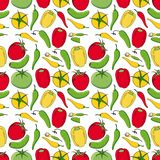 Vegetable seamless pattern. Cucumbers, tomatoes and peppers isolated on white background. Bright cartoon illustration for menu card design, fabric and Royalty Free Stock Image