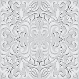 Vegetable seamless pattern in 3D. Pattern for design cards, wall tapestries, holidays and ceremonies. The white elements of the pattern with shadow on gray Royalty Free Stock Photo