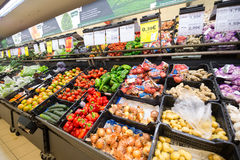 Vegetable section of a supermarket with lots of different vegetables. Peniche, Portugal - October 10, 2016: Vegetable section of a supermarket with lots of Royalty Free Stock Photos