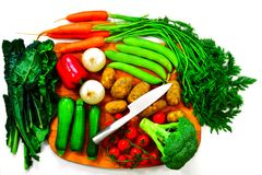 Vegetable selection with chopping board Royalty Free Stock Photo