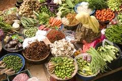 Vegetable Seller. At a wet market in Kota Bharu, Kelantan, Malaysia Royalty Free Stock Image