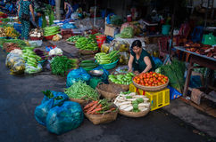 Vegetable seller in Can Tho, Vietnam Royalty Free Stock Image