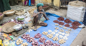 Vegetable seller. At Haat Festival tribal you can also see some people with their traditional dresses and ornaments. Males play flute and dhol drums and girls Stock Photography
